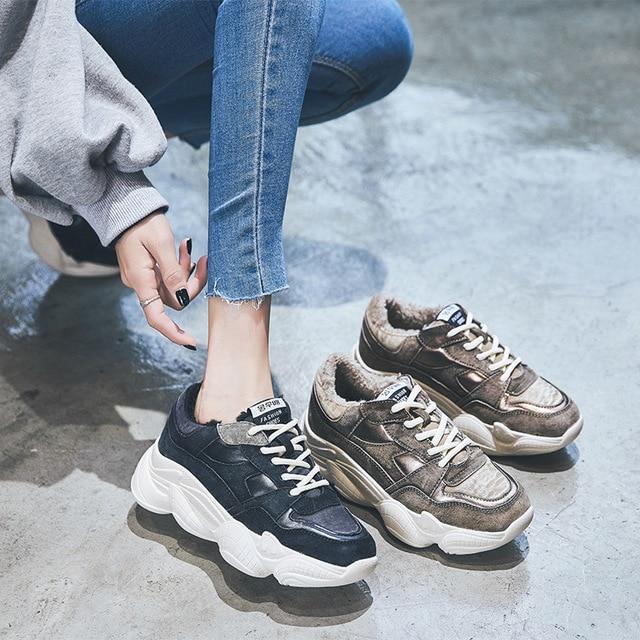 Invierno Otoño Viejos Mujer Casuales Negro 18 Cuero Y marrón Super Fuego De Nuevo Zapatos qEPfnCwdx