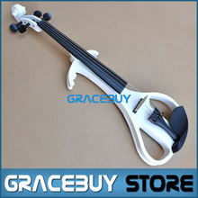 Wood Hand Electric Violin/ Fiddle For Beginners, White Violine Send With Rosin, Case, Headphone And Pickup