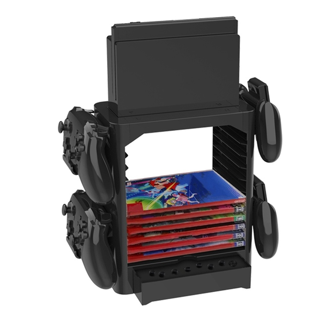 Multifunctional Game Disk Storage Tower Holder for Nintendo Switch Console and Switch Pro Controllers, Switch Dock Set, Headsets