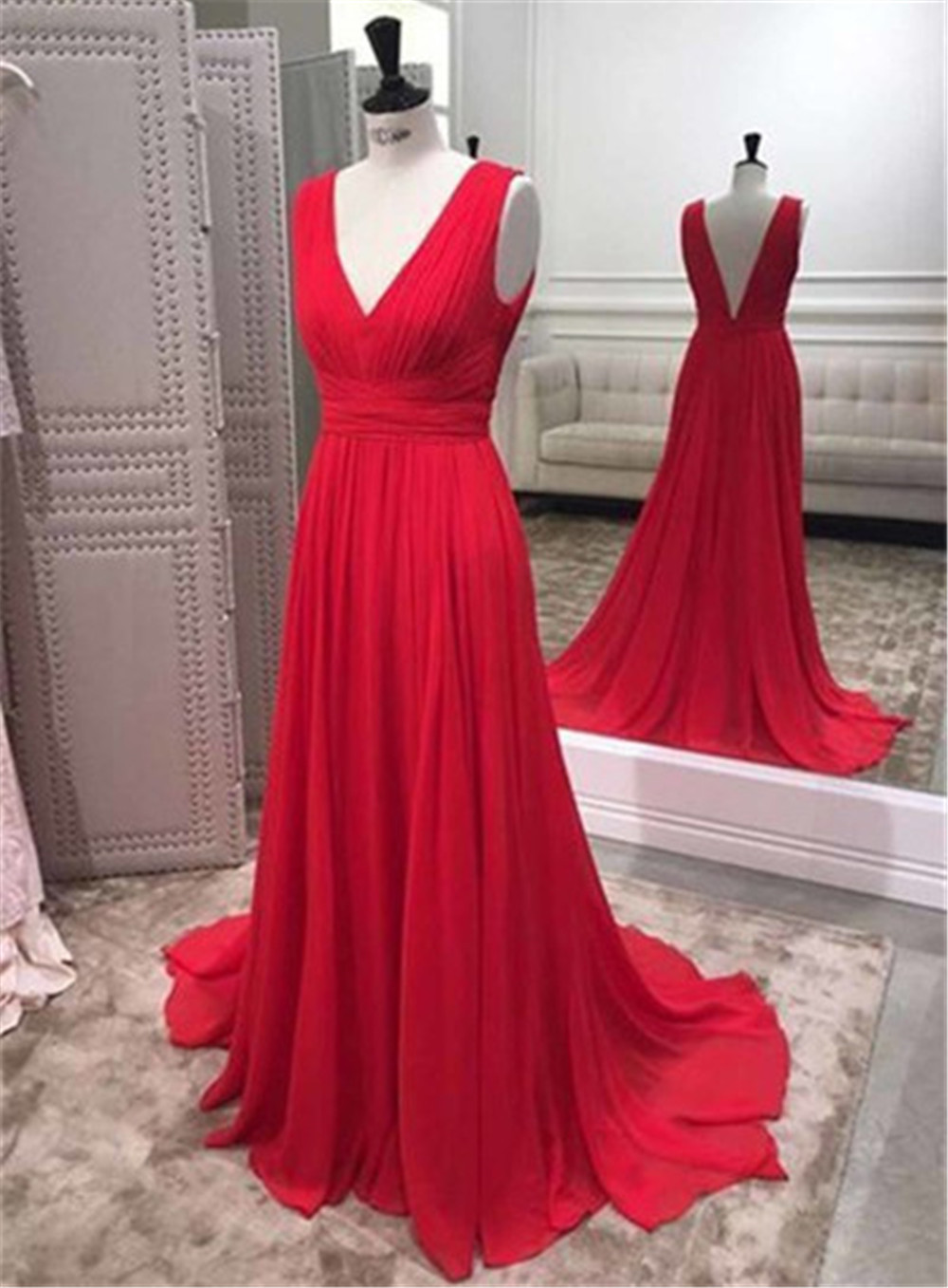 Elegant Long Red Wedding Party   Dress   2019 V Neck Pleat Chiffon Floor Length Cheap   Bridesmaid     Dresses   Custom Made Robe De Soiree