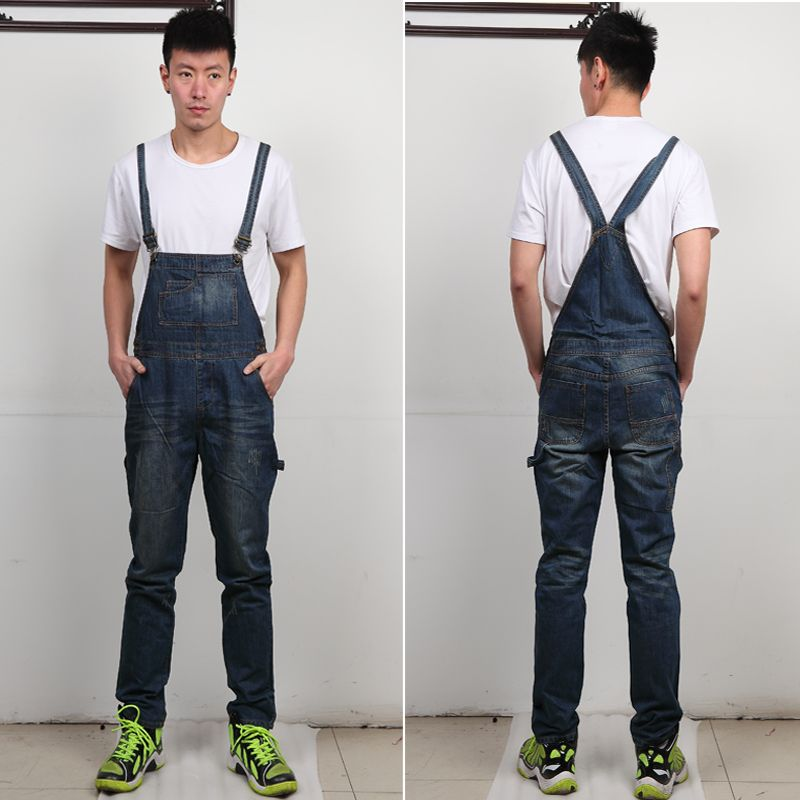New Arrival Men Baggy Cargo Pants with Suspenders Denim Bib Overalls For Men Men Stretched Straight Jeans Jumpsuits 062905 2017 summer new men denim strap pantyhose tide one piece suspenders denim overalls pants bib trousers jeans singer costumes
