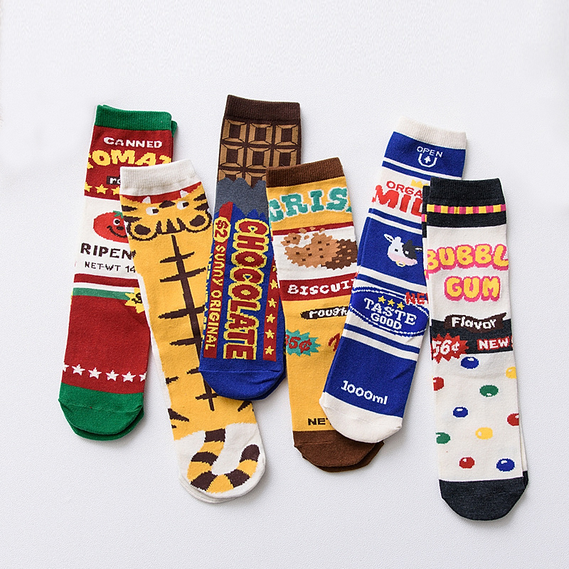 NEW original design Novelty Funny Cartoon female   socks   print Milk tomato Food Striped Women Cotton   Socks