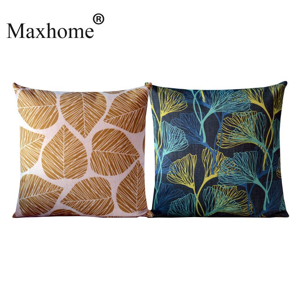 Elegant Sofa Pillows: Cotton Linen Pillowcase Elegant Golden Leaves Sofa Cusions