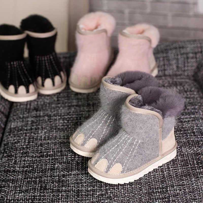 ULKNN 2018 Children Winter Snow Ankle Boots Warm Kids Cashmere Paw Baby Girls  Shoes Velvet Plush accd1e212919