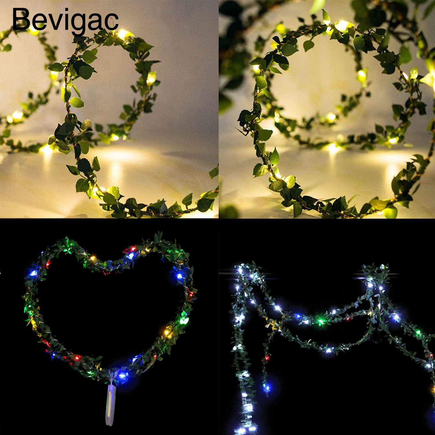 Bevigac 2m 20 LED Artificial Vine Copper String Wire Lights Battery Operated for Christmas Halloween Wedding Party Decoration