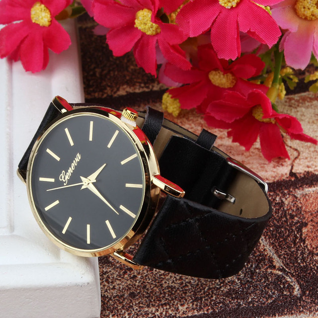 New Style Fashion Unisex Casual Geneva Checkers Faux Leather Quartz Analog Wrist
