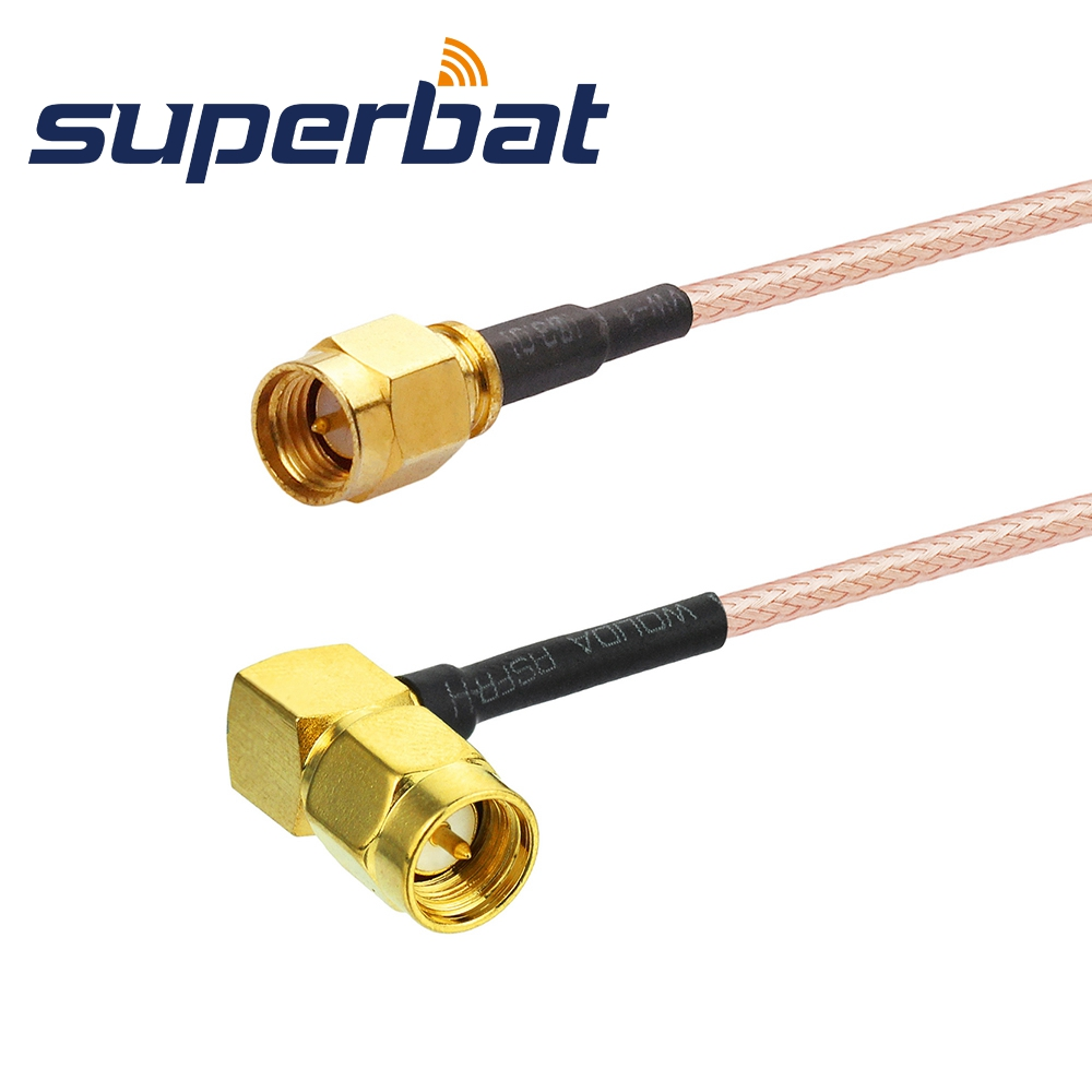 Superbat RF Cable Assembly SMA Male Right Angle To SMA Male Straight Patch Lead RG316 30cm For Wi-Fi Radios