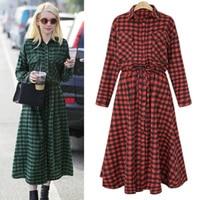 Yibaka 2018 Plus Size Women XXL Women Oversized Pleated Plaid Dress Elegant Checkered Loose Casual Sweet