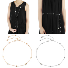 fishing aluminum alloy gimbal waist belt golden black Ladies Pearl Diamante Waist Chain Charm Belt Dress Women Golden Silver Alloy Necklace