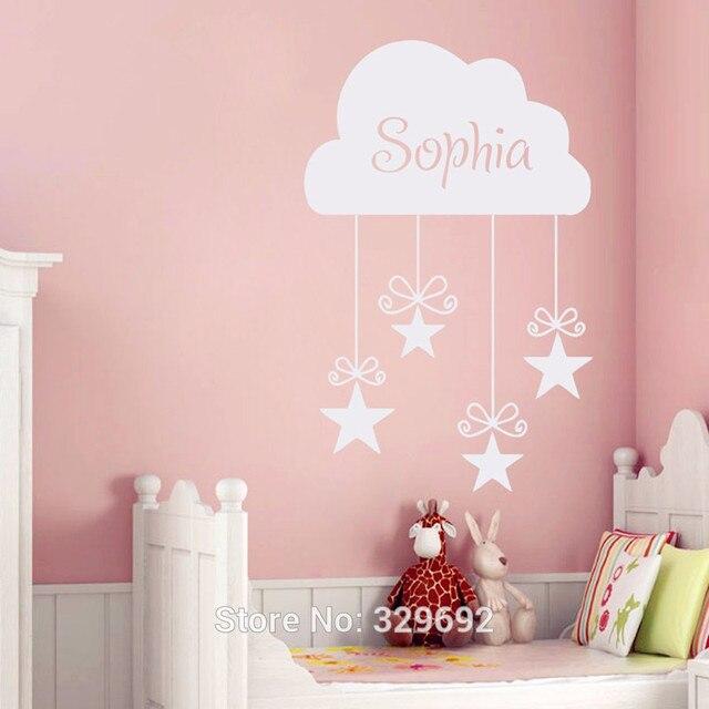 custom meisjes naam decals vinyl cloud en sterren muursticker home decor baby meisjes slaapkamer muur decoratie