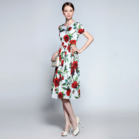 Famous Brand Runaway 2016 Newest Summer Fashion Slim Elegant Red Flower Vintage White Casual Knee Length