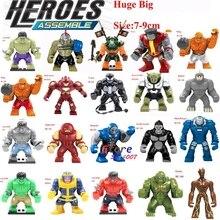 Única Venda Grande Tamanho Grande Ironman Marvel Super Heroes Hulk Venom Thanos Dogshank Ninja Building Blocks Brinquedos para crianças