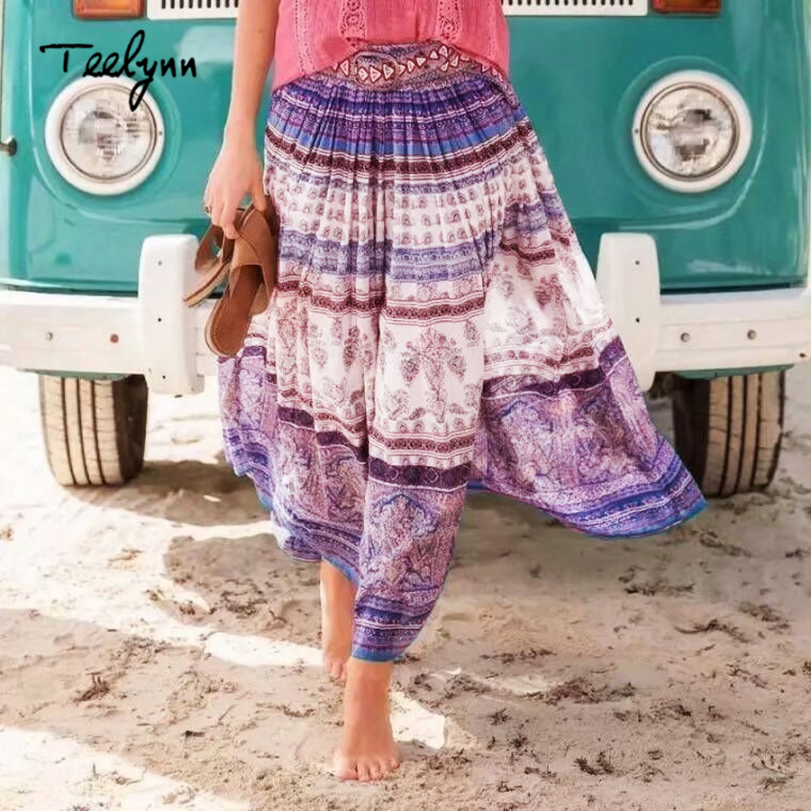 TEELYNN maxi skirt for women Rayon purple floral print large swing boho skirt beach wear Casual Hippie long skirts chic falda