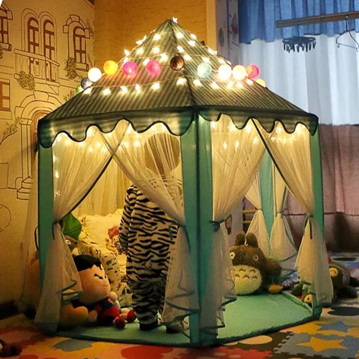 Portable Princess Castle Play Tent With Led Light Children Activity Fairy House kids Funny Indoor Outdoor Playhouse playing Toy