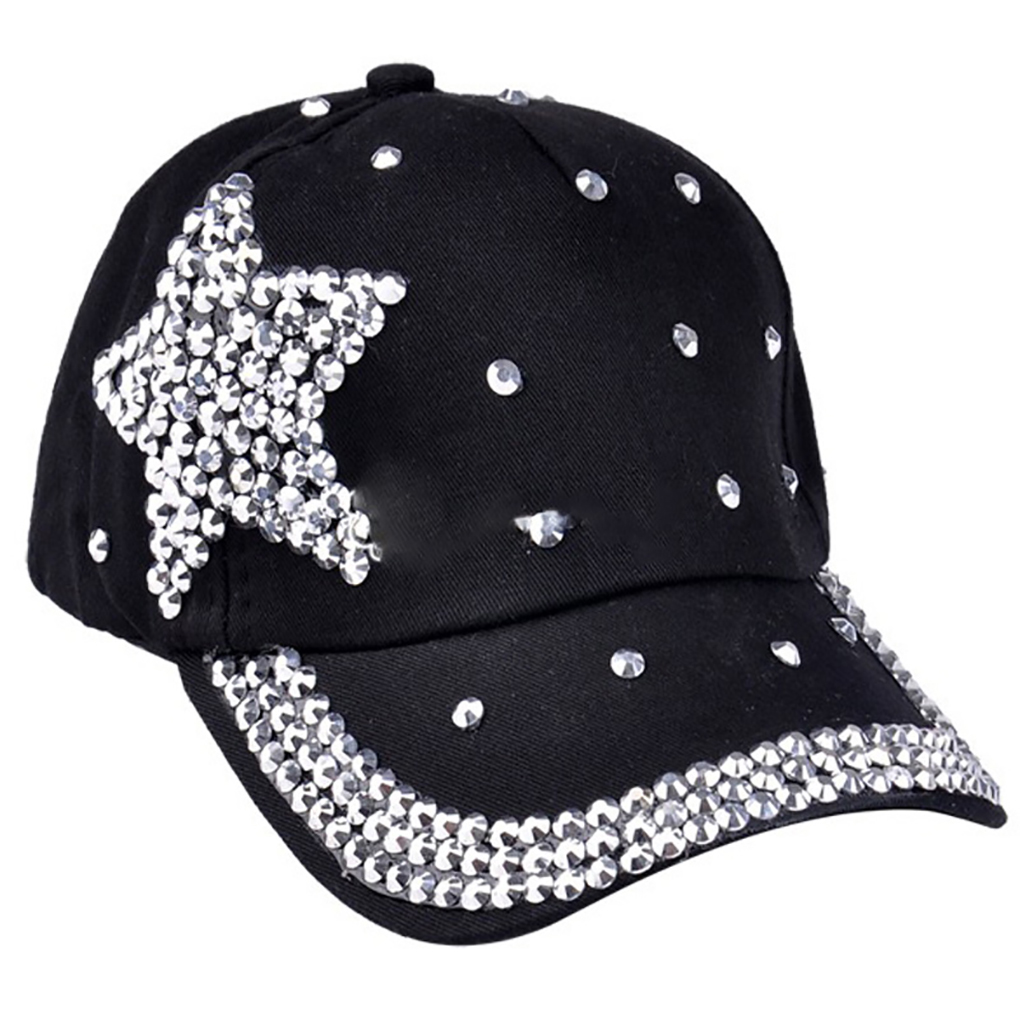 Fashion Adjustable Star Rhinestones Studded Peaked   Cap   Glitter Sparkly Hat Cotton   Baseball     Cap   Children