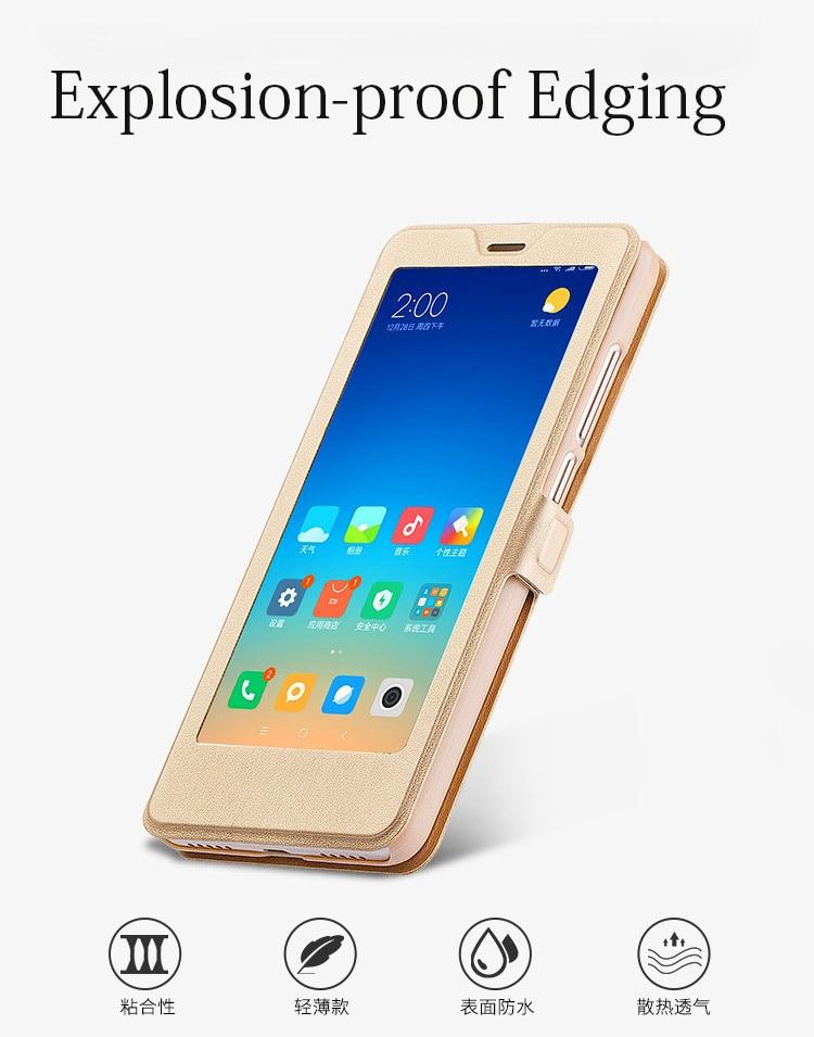 Smart window hard flip leather case for xiaomi redmi 5 plus 5a note 5 5a pro 6 6a 6 pro 03