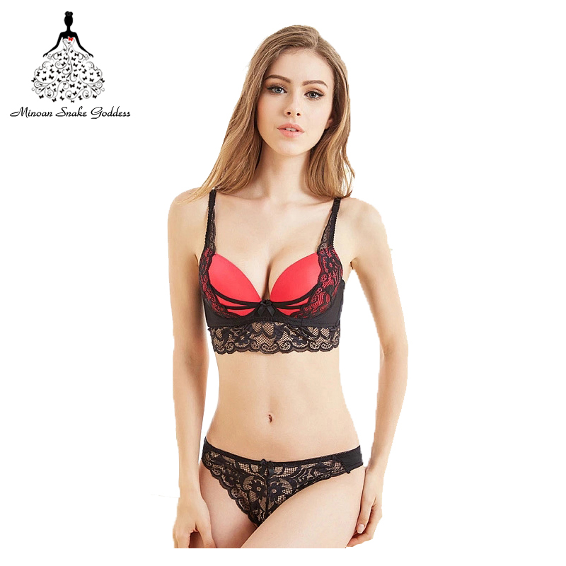 Detail Feedback Questions about Push Up Bra Set Sexy Thong Pants Lingerie  Deep V Embroidery Underwear Women Flower Lace Bra Set Three Quarters Female  ... 90aba42ee