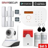 Smarsecur2G Kit Sistema de Alarme de Segurança GSM Com Detector de Fumaça Câmera IP Inteligente Sem Fio Da Porta/Janela Sensor