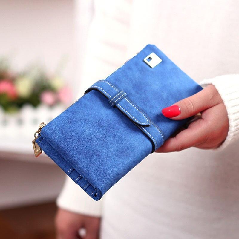 Hot Sale Fashion Women Wallets 7 Colors Matte PU Leather Zipper Soft Wallet Ladies Long Day