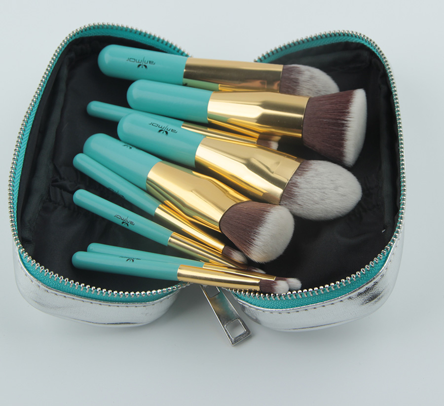 Anmor Voyages Maquillage Brosses 9 PCS Synthétique Cheveux Maquillage Brush Set Avec Sac Portable GM001 7