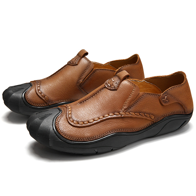 ФОТО Fashion British Style Men Causal Shoes Genuine Leather Slip On Men Shoes High Quality Outdoor Shoes Zapatos Hombre