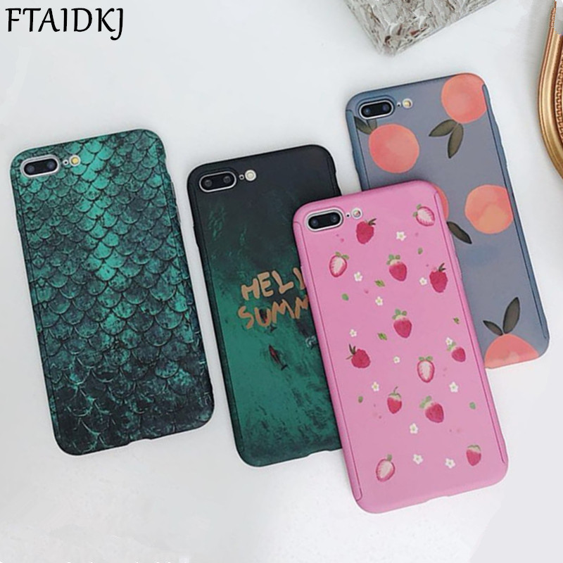 360 Degree Full Body Protection Cartoon Fruits Marble Leopard PC Hard Case For iPhone XS Max X XR 7 6 6S 8 Plus 10 SE 5 5S Capa image