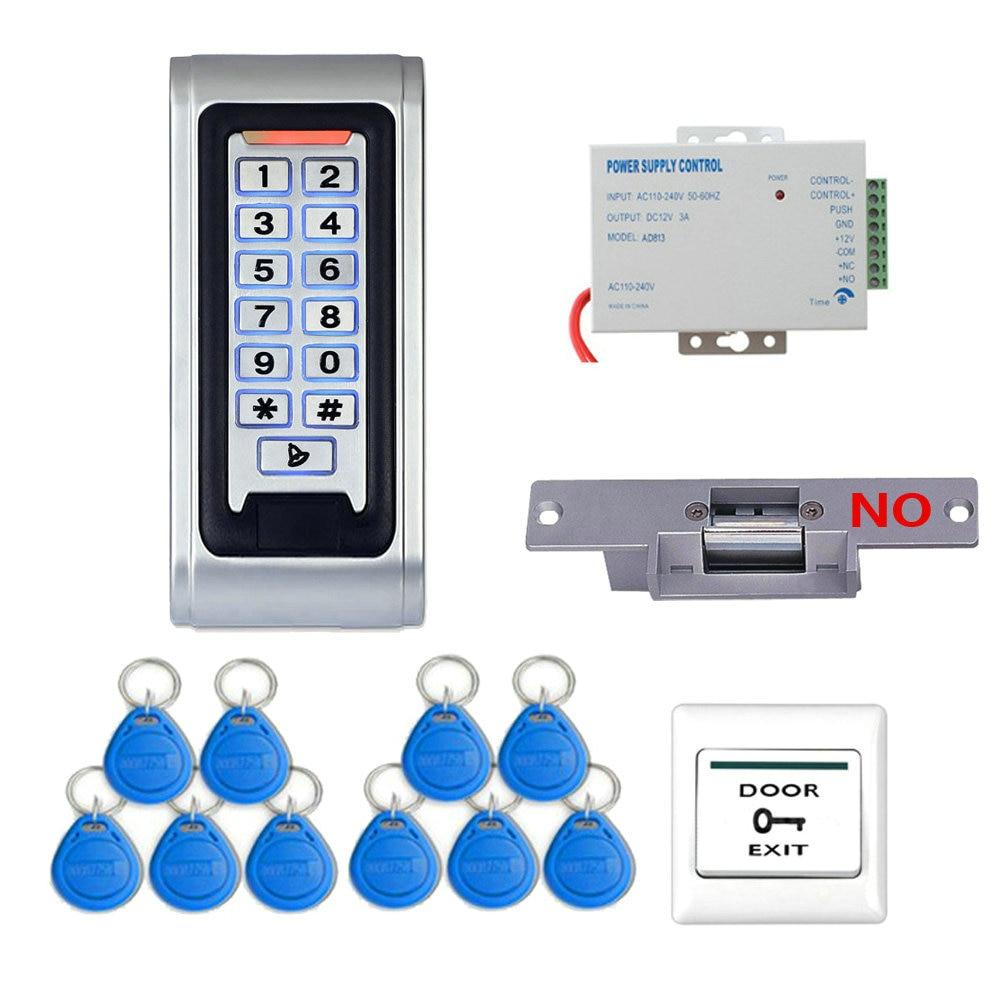 MOUNTAINONE Door Access Control System Controller Waterproof IP68 Metal Case RFID Reader Keypad + Electric Strike Lock