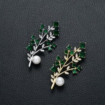 Vintage-Schmuck Zweig mit Blättern Brosche Pin Mode Design Schöne Perle Grün Kristall Broschen Schmuck Geschenk für Freunde