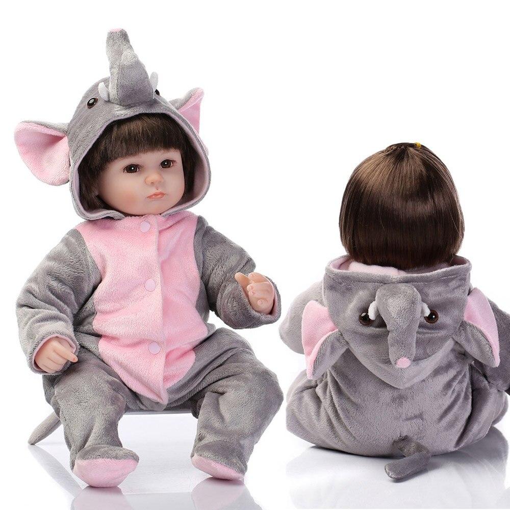 NPK gris rose éléphant bébé poupée jouets bebe reborn corpo de silicone inteiro realista 43 CM hauteur Reborn bébé poupée