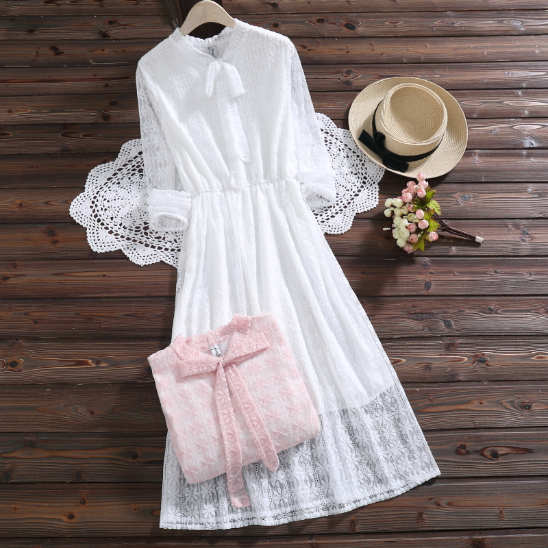 6e454e7c3a788 Mori Girl Spring Autumn Women Lace Midi Dress Stand Collar White Pink  Hollow Out Vestidos Long Sleeve Elegant Sweet Lady Dress