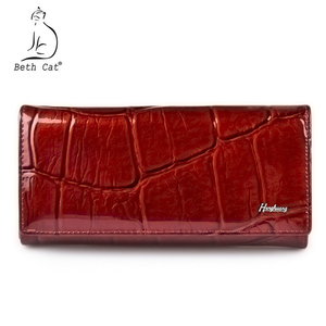 Image 1 - HH Women Wallet and Purse Stone Genuine Leather Womens Wallets Ladies Clutch Bag New Female Luxury Brand Hasp Long Purses