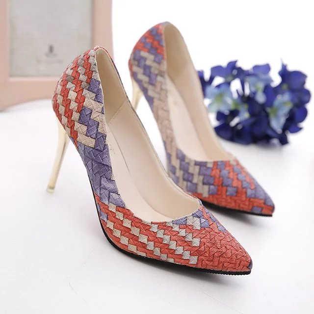 Sexy de moda de las mujeres zapatos de tacón alto zapatos de primavera delgada tacones mujer fiesta zapatos de marca zapatos Plus Tamaño del dedo del pie puntiagudo sola mujer de la bomba