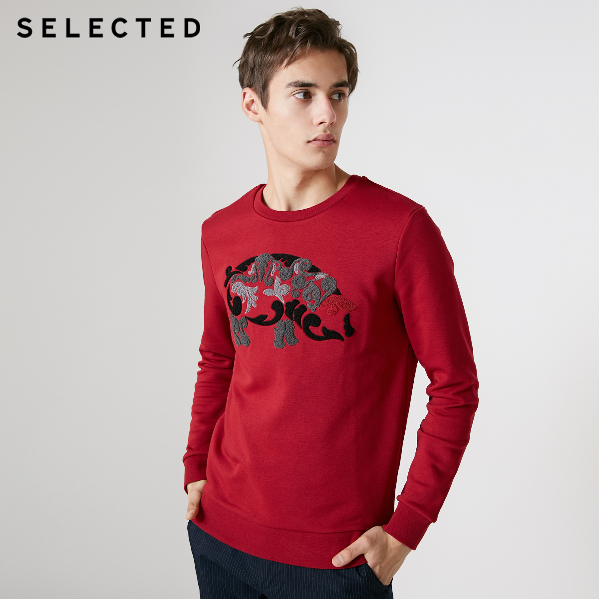 SELECTED Men's Cotton-blend Cartoon Pig Print Knitted Tops S|41914D533