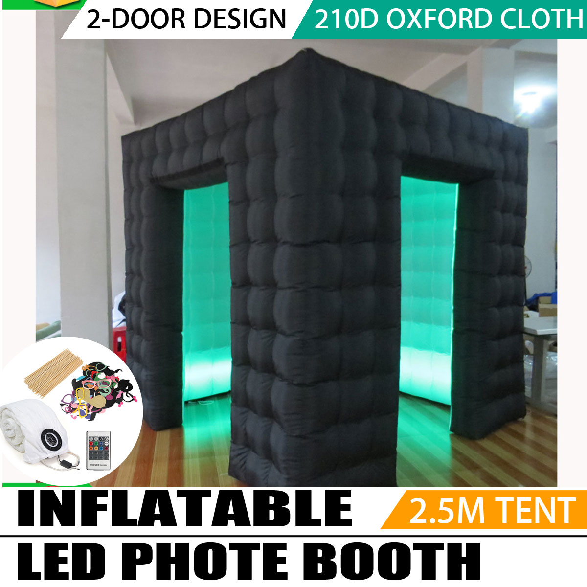 2.5*2.5*2.5 m Portable Gonflable Photo Cabine Gonflable Cube Tente Led Gonflable Photo Booth pour la Fête De Mariage