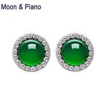 Серьги гвоздики круглые из серебра 925 пробы с зеленым халцедоном