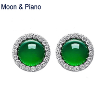 Фотография Moon Piano Fine Jewelry Green Chalcedony Round Stud Earrings 925 Sterling Silver Classic Jewelry Part Accessories New Arrvial
