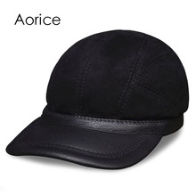 HL031 Mens baseball caps hats  genuine leather brand new real cap hat
