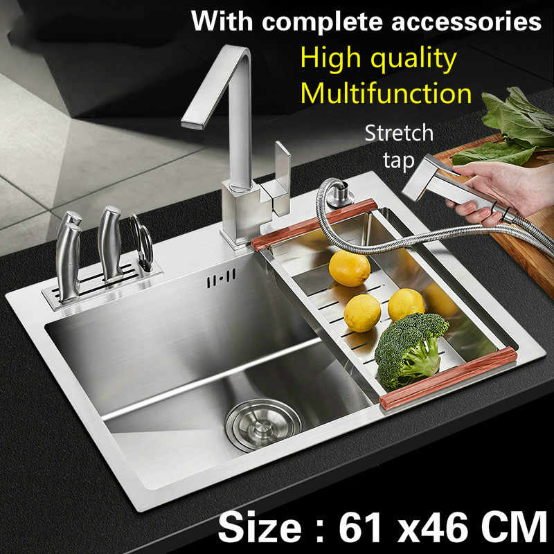 Free shipping Food grade 304 stainless steel kitchen sink 3mm thick hot sell common single trough stretch tap hot sell 61x46 CM
