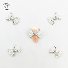 LEAMX 5 PCS/bag Pearl Nail Art 3D Clear Rhinestones Crystal Bow Tie Alloy Bow Knot For Nails Dekor Decorations Accessories L356