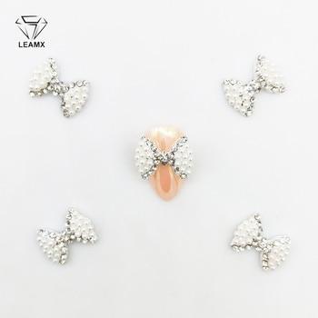 LEAMX 5 PCS/bag Pearl Nail Art 3D Clear Rhinestones Crystal Bow Tie Alloy Knot For Nails Dekor Decorations Accessories L356