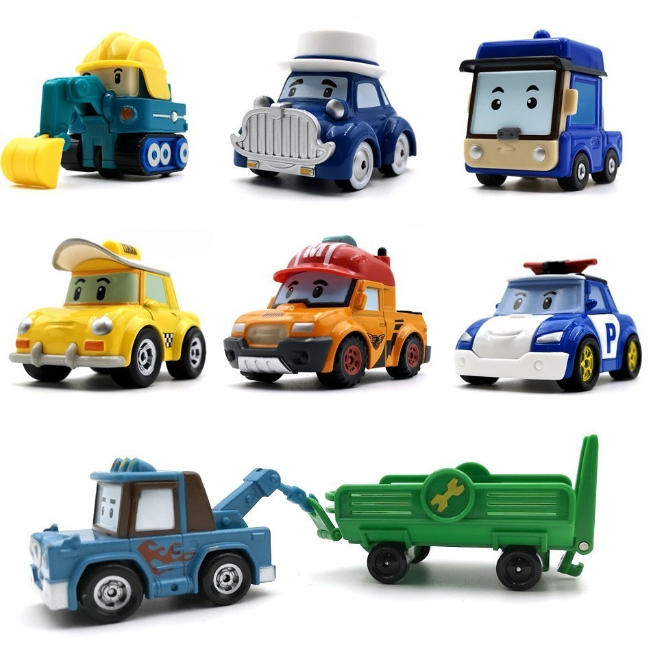 Robocar Poli 24 Style Korea Kids Toys Robot Poli Roy Haley Anime Metal Action Figure Toys Car For Children Best Gift