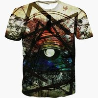 New Harajuku T Shirt 3D Robot Eye Metallic Triangle Pattern Print Men Women Fashion 3d T