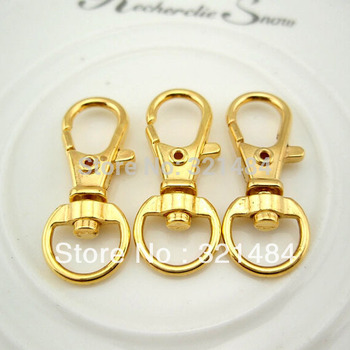 100pcs Gold plated Metal 32mm Purse Chain Hook Swivel Claw Lobster Clasp Fit Key Ring/Rings/Key Chain DIY Findings