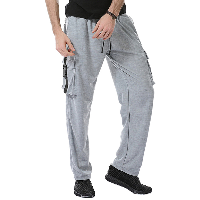 81c19a1b8d9 Classical Black White Gray Sweatpants Men Elastic Waist Loose Casual Jogger  Pants Drawstring Mens Rompers With Double Pockets