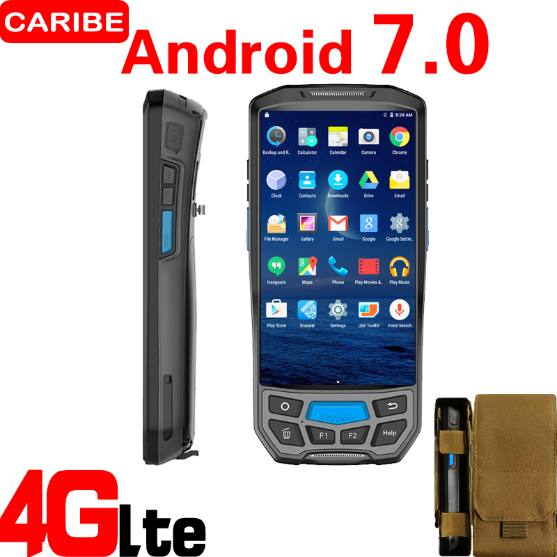 CARIBE 1D 2D Laser Barcode Scanner Handheld Pos Terminal with NFC UHF RFID Reader Memory 2d wireless barcode area imaging scanner 2d wireless barcode gun for supermarket pos system and warehouse dhl express logistic