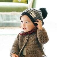 2016 New Fashion Baby Boy Hat Woolen Set Head Cap Ball Top Children Solid Comfortable Black