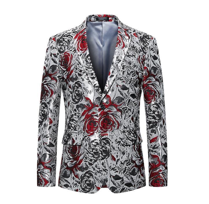 Printemps automne décontracté veste hommes impression blazer masculino slim fit casaco jaqueta masculina deux boucles manteaux hommes costumes coréen