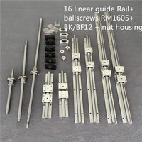 3 set ballscrew SFU1605 350/650/1050+3BK/BF12 & 3set BK/BF12 & 6pcs SBR16 Linear Guide rails & 3 couplers for CNC Kit