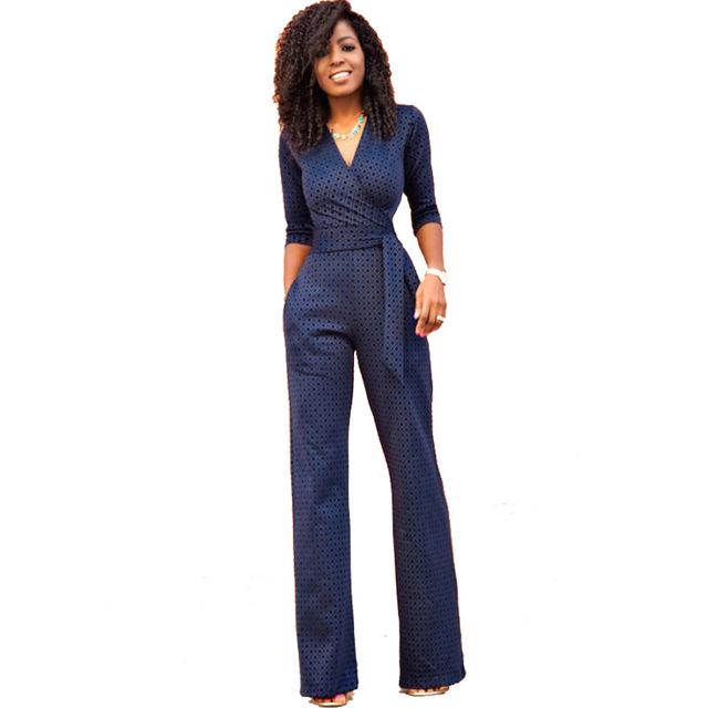 Casual print long jumpsuit romper women Sexy Deep v neck Half Sleeve  overalls Streetwear Long Pants sashes playsuit Blue 2e8789abb
