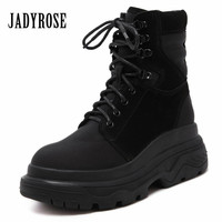 Jady Rose Vintage Women Martin Boots Lace Up Casual Short Botas Waterproof Winter Snow Boots Female